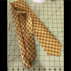 Hermès rain drop Designer silk yellow tie